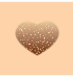 Modern decorative halftone heart on a beige vector image