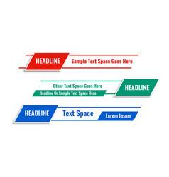 Modern geometric lower third banners in three vector