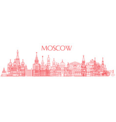 moscow skyline line art 3 vector image