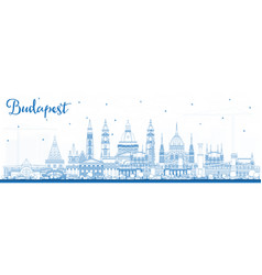 Outline budapest hungary city skyline with blue vector