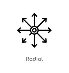 outline radial icon isolated black simple line vector image