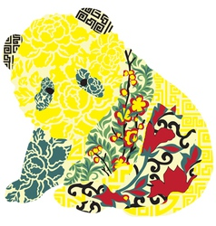 Panda in Chinese ornament vector