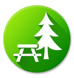 Picnic table green circle icon vector