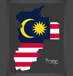 Putrajaya malaysia map with malaysian national vector