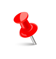 Realistic red push pin with soft shadow vector