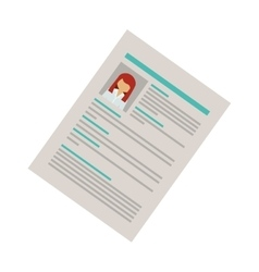 Right side document with woman curriculum vitae vector