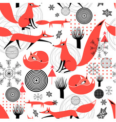 seamless pattern red foxes snowflakes vector image