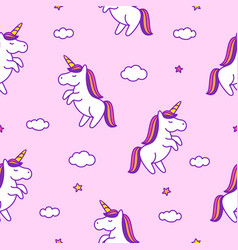 Seamless pattern with doodle style unicorns vector