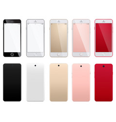 set modern smartphones on a white background vector image