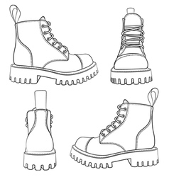 Set of drawings with boots isolated objects vector image