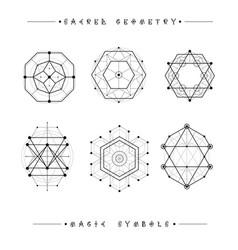 Set symbols and elements alchemy religion vector