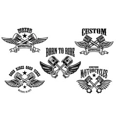 Set winged motorcycle and car pistons design vector