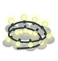 Shiny garland with flashing yellow lights vector