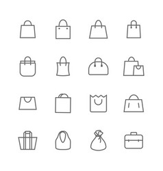 shopping bags lines icons set vector image