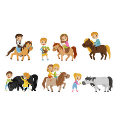 Small kid characters petting horse vector