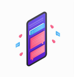 smartphone isometric icon 3d flat mobile device vector image