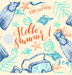 summer background with diving mask and lettering vector image