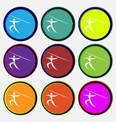 Summer sports Javelin throw icon sign Nine multi vector