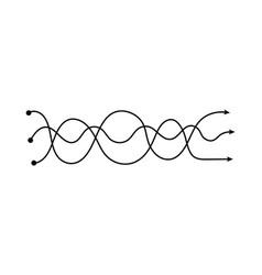 Three arrows intertwined in wavy lines curvy neat vector