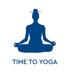 time to yoga meditation silhouette sitting in vector image