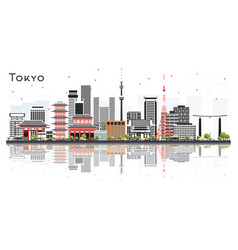 tokyo japan city skyline with color buildings vector image