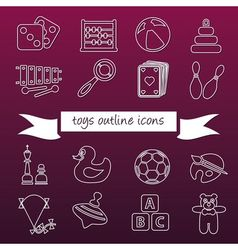 toys outline icons vector image