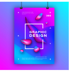 trendy graphic design poster liquid shapes vector image