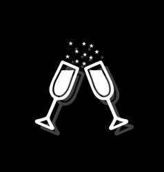 two glasses of champagne icon flat vector image