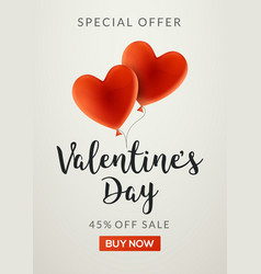 Valentines day sale banner background with vector