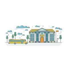 Web banner template with elegant school building vector