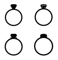 wedding rings icons set vector image