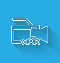White line video camera with inscription xxx icon vector