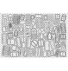 windows and doors doodle set vector image