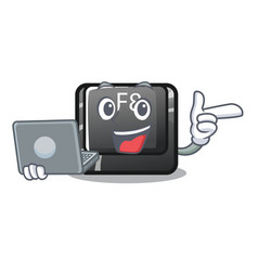 with laptop button f8 in shape character vector image