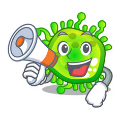 With megaphone character microbe bacterium on the vector