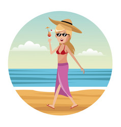 Woman tourist swimsuit and hat vector