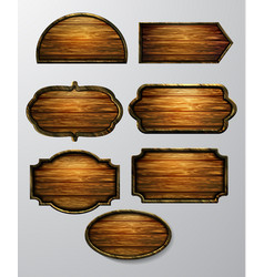 Wooden signs icon set vector