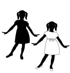 Young girl in a dress silhouette icon vector