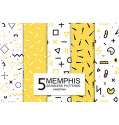 collection of swatches memphis patterns - seamless vector image