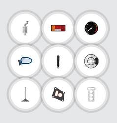 Flat icon component set of tachometr car segment vector