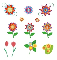 Flowers set in a flat style isolated on white vector image vector image