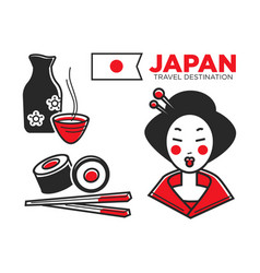 japan culture food and travel symbols or famous vector image vector image