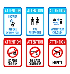 Pool signs set 2 vector image vector image