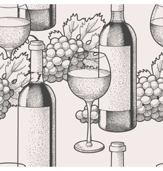 Seamless wine and grape vector image vector image