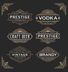 vintage line frame design for labels vector image vector image