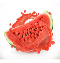 watermelon juice fresh fruit 3d realism icon vector image