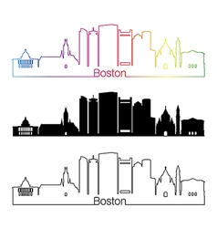 Baltimore skyline linear style with rainbow vector image vector image
