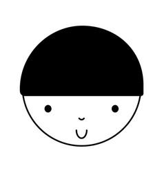 black icon cute little boy vector image