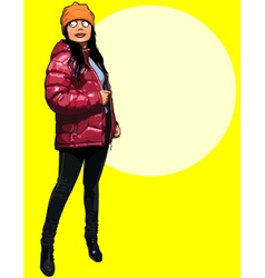 cartoon girl standing in a jacket and hat vector image vector image