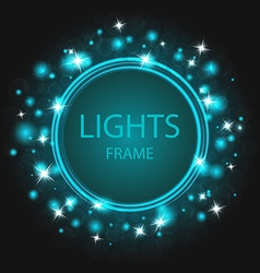Glittering frame blue background glowing stars and vector image vector image